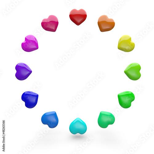 Bunte 3D Herzen im Kreis 2