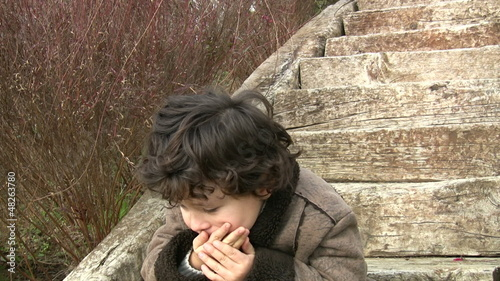Little boy coughing