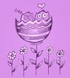 Sketch Doodle Valentines Owl Flowers Vector Art