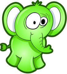 Sick Green Elephant Vector