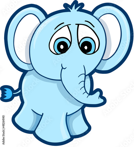 Cute Blue worried Elephant vector