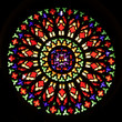 Colourful round window of stained glass