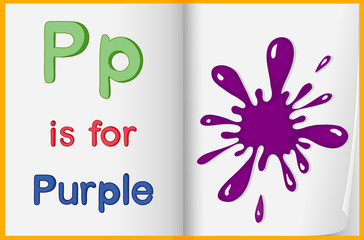 A picture of a purple splash in a book