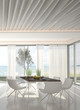modern dining room interior with sea / ocean view