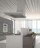 Modern kitchen interior with sea / ocean view
