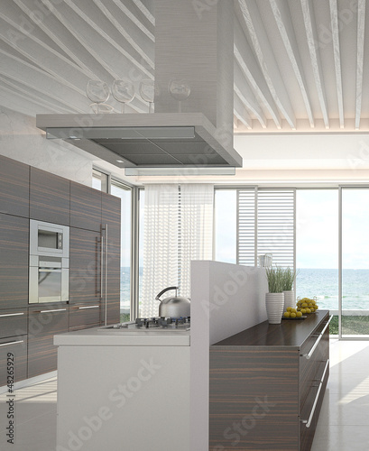 Modern kitchen interior with sea / ocean view