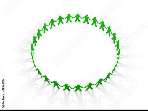 Mystical circle. figures holding hands together in a circle.
