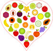 A Vector illustration of Fruit icons inside a Heart
