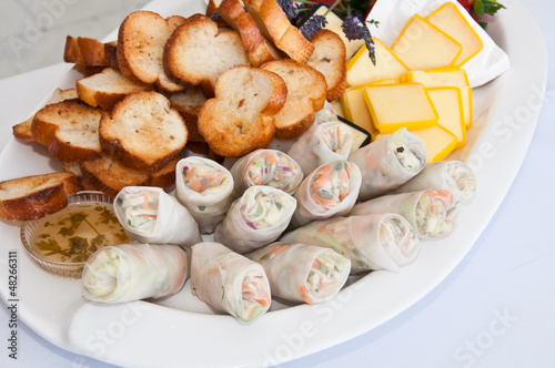Spring rolls at party