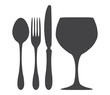 Cutlery spoon knife fork glass silhouette illustration