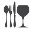 Cutlery spoon knife fork glass silhouette illustration