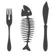 Cutlery knife fork fish silhouette
