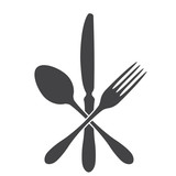 Black symbols of cutlery on White background