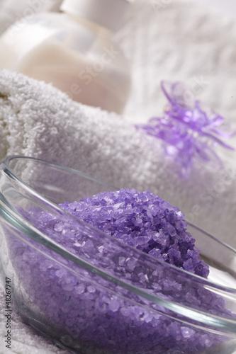 bath salt with towel