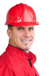 Portrait of young smiling fireman with hard hat