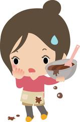 チョコレート作りに苦戦する若い女性