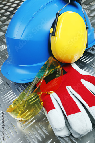 hardhat, gloves, protective clothing