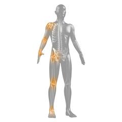 Silhouette des Menschen mit Gelenkschmerzen und Skelett