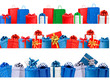 Set of shopping banners with gift colorful boxes with bow and ri