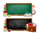 Fototapety Back to school. Two banners with school supplies. Vector.