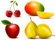 Group of fresh colorful fruit. Vector.