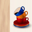 Background with colorful cups of coffee. Coffee design template.