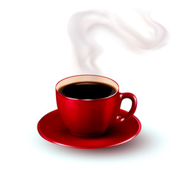 Perfect red cup of coffee with steam. Vector illustration.