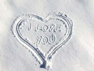 Heart shape in snow - I love you