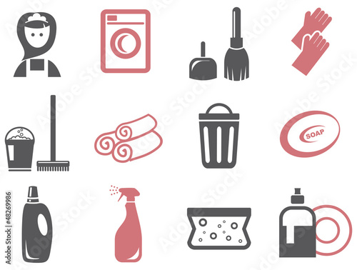 colored cleaning icons