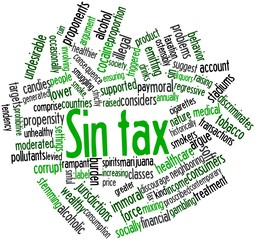 Word cloud for Sin tax