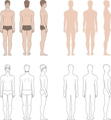 Vector illustration of man's figure. Silhouettes