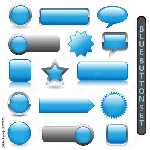 WEB BUTTONS POSTER (BLUE) (rectangular round blank square)