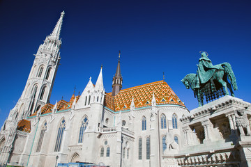 Matthias Church and statue of Stephen I. Budapest, Hungary