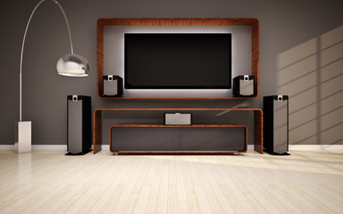 Modern living roomin with home cinema