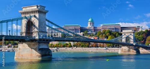 Buda Castle and Chain Bridge. Budapest, Hungary