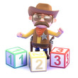 Cowboy plays with counting blocks