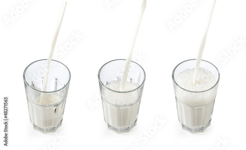 Pouring milk in a glass