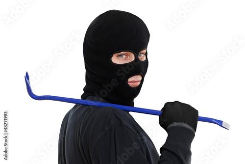 thief burglar with metal crowbar