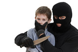 thief kidnapper with child isolated