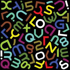 futuristic color alphabet font isolated - illustration