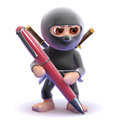 Ninja writing with a pen