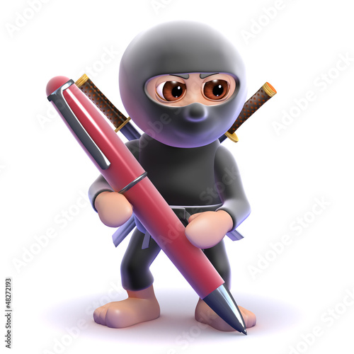 Ninja writing with a pen
