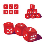 set of red playing dices, illustration