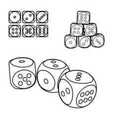 outline set of playing dices, illustration