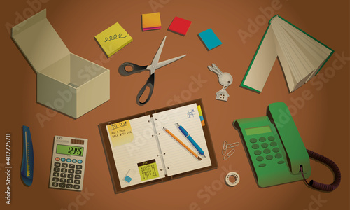 Office desktop with typical equipment, illustration