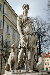 Statue of the Diana, the goddess of nature and hunting in lvov,