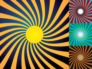 Set of abstract suns, illustration