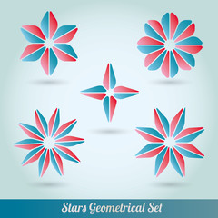 Set stars 3d lots vector