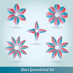 Set stars 3d lots vector