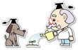 植物に水をあげる博士と犬